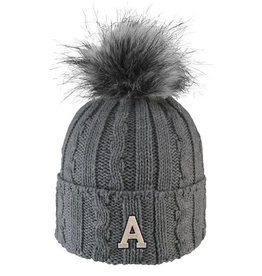Alps (Knit Cuff Hat with Faux Fur Pom)