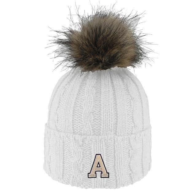 Alps (Knit Cuff Hat with Faux Fur Pom)