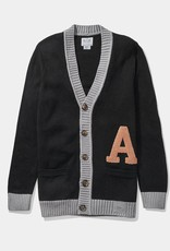 Wool Blend Letter Cardigan Sweater (Hillflint)