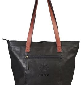 Harper Canyon Leather Tote (West Point/Black/Tan Strap)
