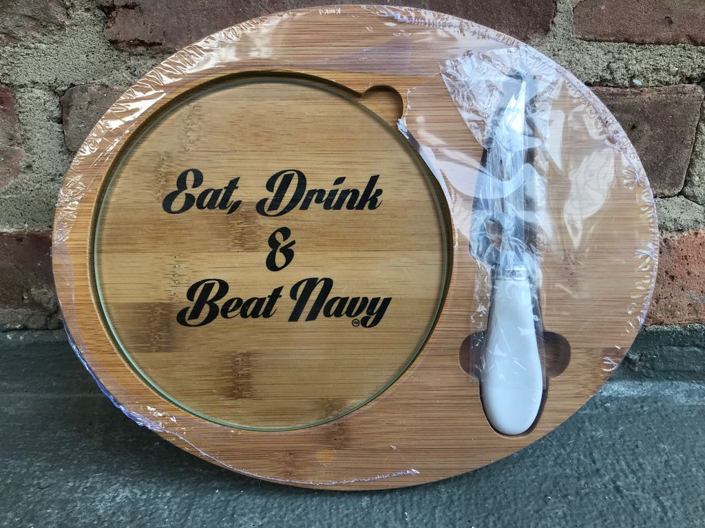 """Eat, Drink and Beat Navy"" Cheese Board Set, 3 piece set"