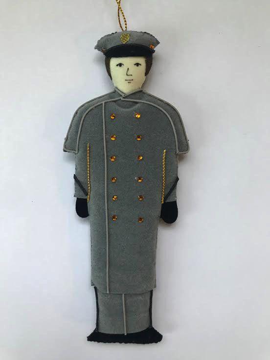 Male/Caucasian/Gray Overcoat/ Cadet  Ornament (St. Nicholas)