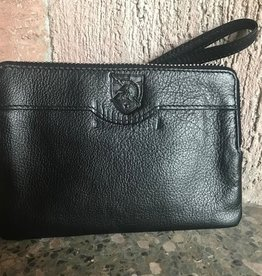 Leather Top Zip Wrist Clutch-Black