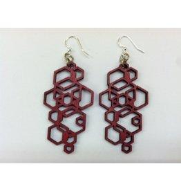 JEWE Red Hex Cluster Earrings