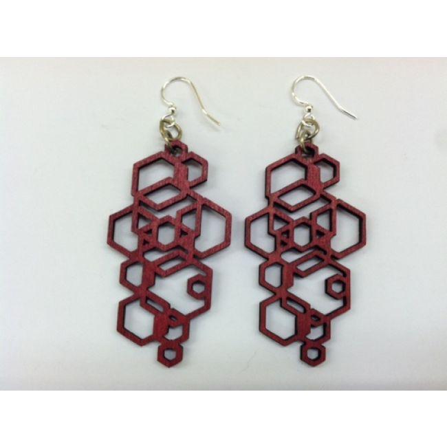 JEWE Hex Cluster Earrings - Red