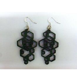 JEWE Kelly Green Hex Cluster Earrings