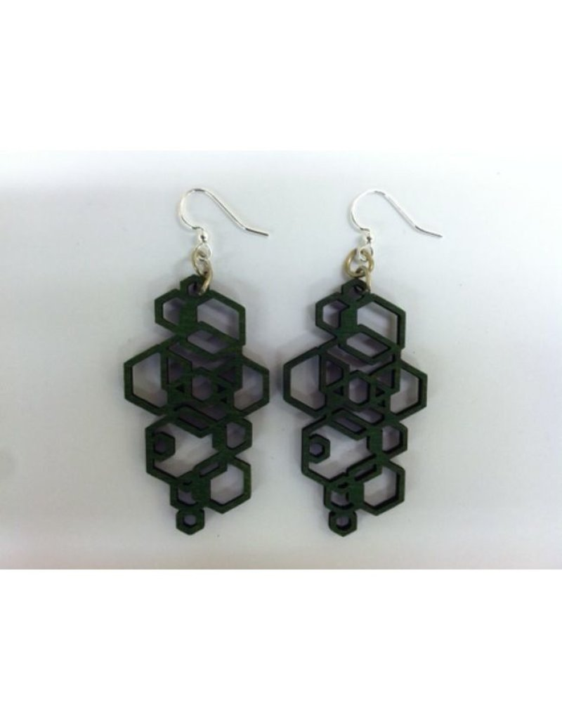 JEWE Kelly Green Hex Cluster Earrings