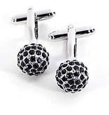 JEWE Rhodium Plated Cufflinks with Black Crystals