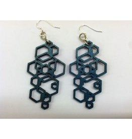 JEWE Teal Hex Cluster Earrings