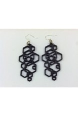 JEWE Hex Cluster Earrings - Black Satin