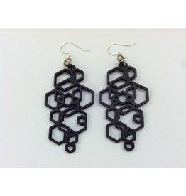 JEWE Black Hex Cluster Earrings