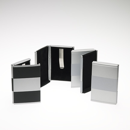HOME Rollover Business Card Case - Black/Silver/Silver