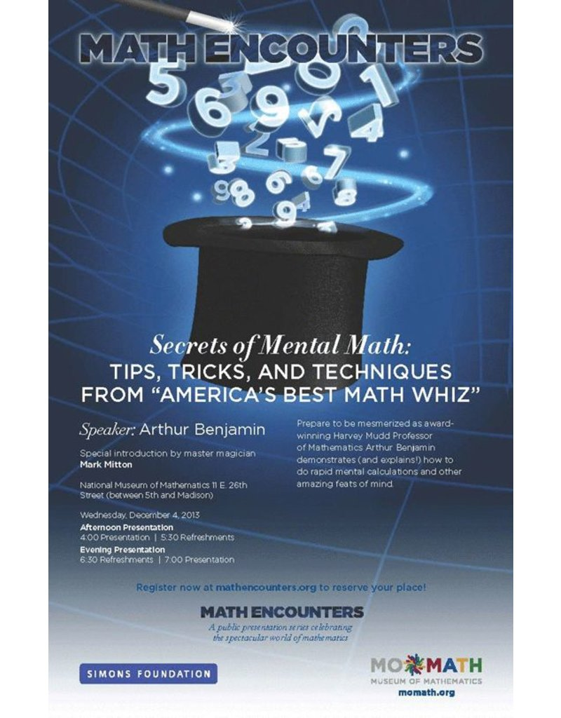 BODV Math Encounters | Secrets of Mental Math by Arthur Benjamin