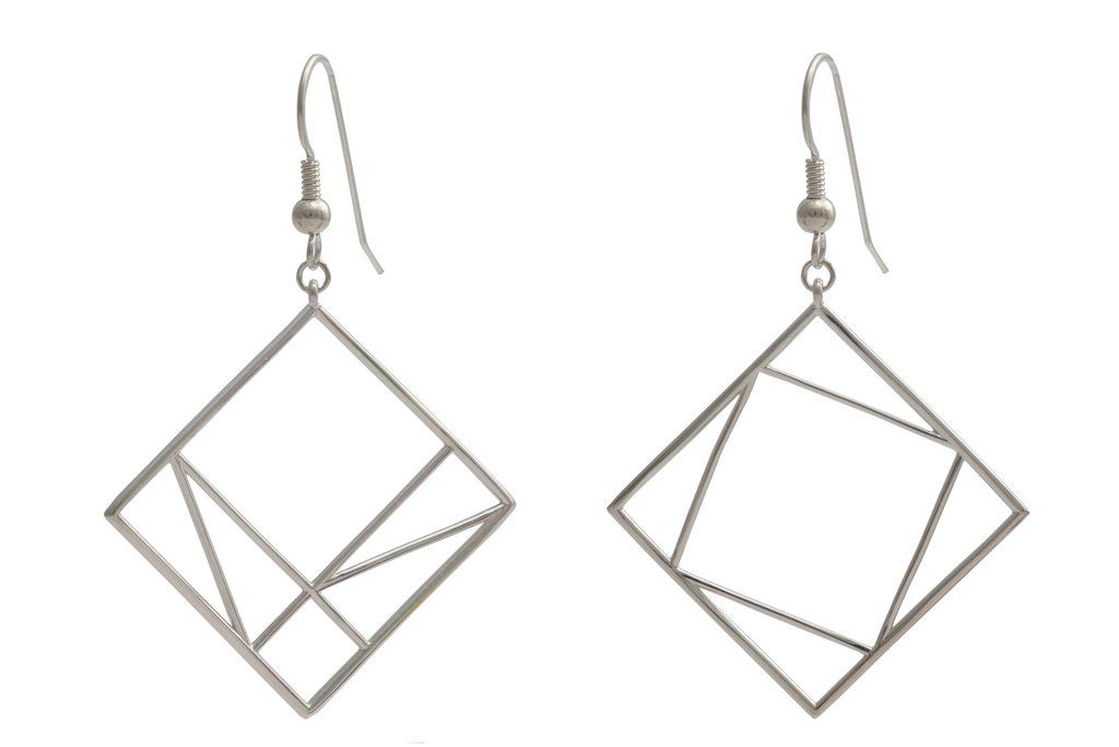 JEWE Cofactor Sterling Silver Pythagorean Theorem Earrings