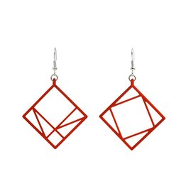 JEWE Cofactor Pythagorean Theorem Earrings, Red