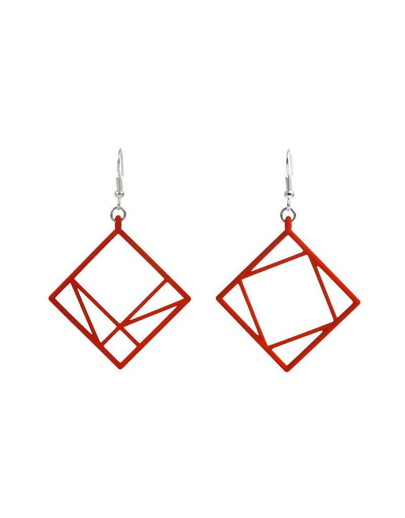 JEWE Cofactor Pythagorean Theorem Earrings, Red