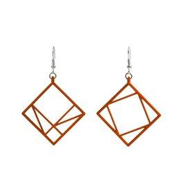 JEWE Cofactor Pythagorean Theorem Earrings, Orange