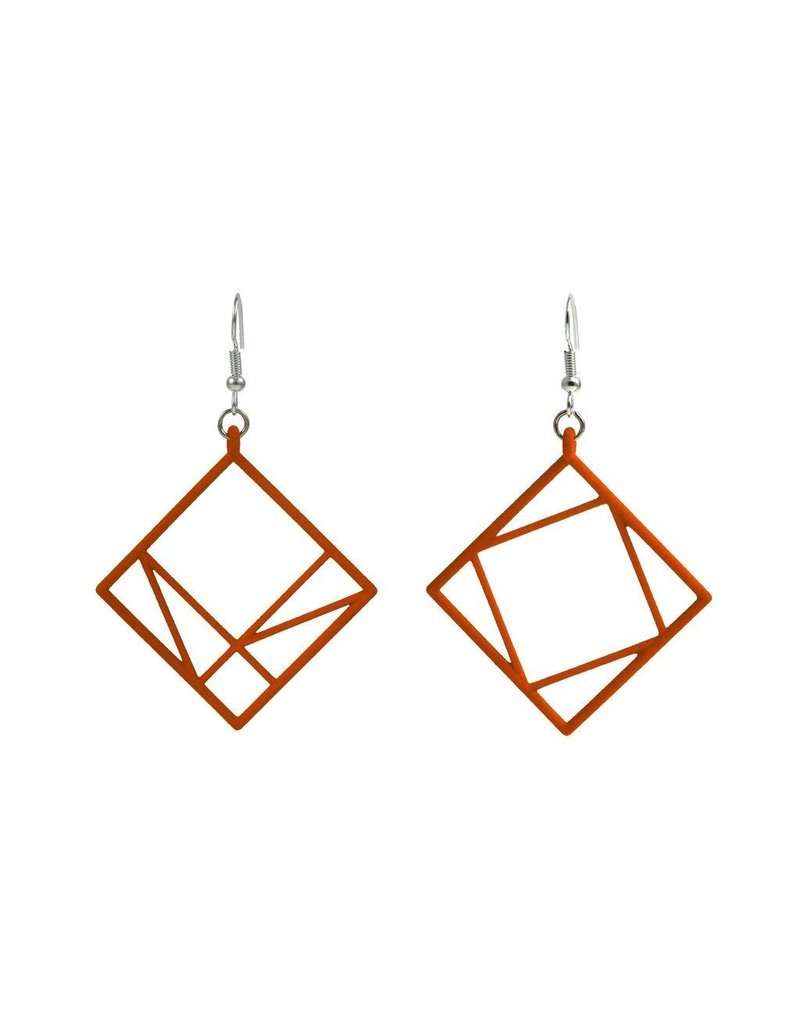 JEWE Cofactor Pythagorean Theorem Earrings, Orange