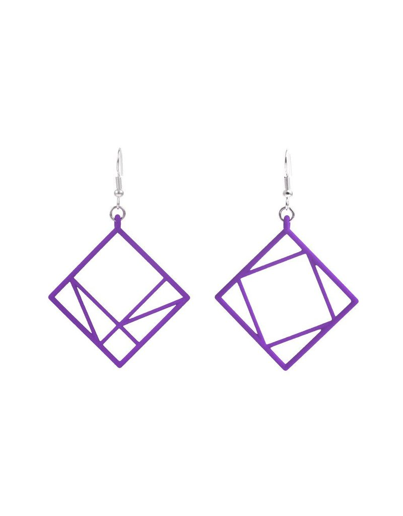 JEWE Cofactor Pythagorean Theorem Earrings, Purple