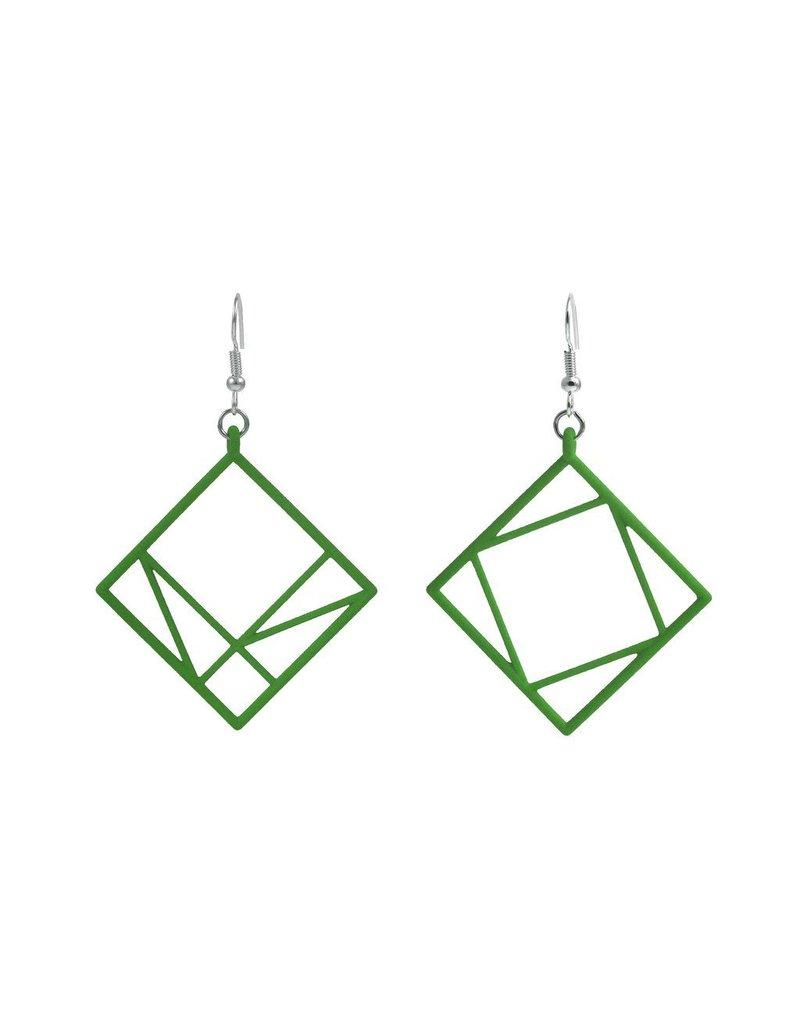 JEWE Cofactor Pythagorean Theorem Earrings, Green