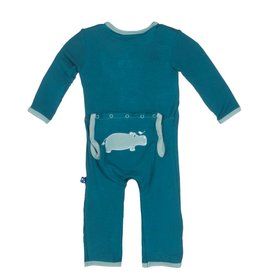 Kickee Pants Coverall - Applique - APPLIQUE COVERALL OASIS HIPPO