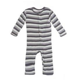 Kickee Pants Coverall - Applique - Applique Coverall Rain Stripe Blackbird