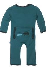 Kickee Pants Coverall - Applique - CEDAR BROWN BEAR GREEN