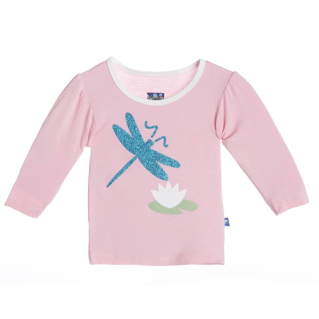 Kickee Pants T-Shirt - Child - Long Sleeve Piece Print Puff Tee Lotus Dragonfly
