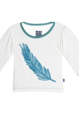 Kickee Pants T-Shirt - Child - Long Sleeve Piece Print Puff Tee Natural Feather