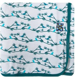 Kickee Pants Blanket - Swaddle - NATURAL PINE BIRDS SWADDLING BLANKET
