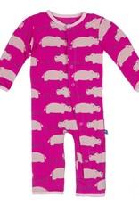 Kickee Pants Coverall - Print - PRINT COVERALL CALYPSO HIPPO