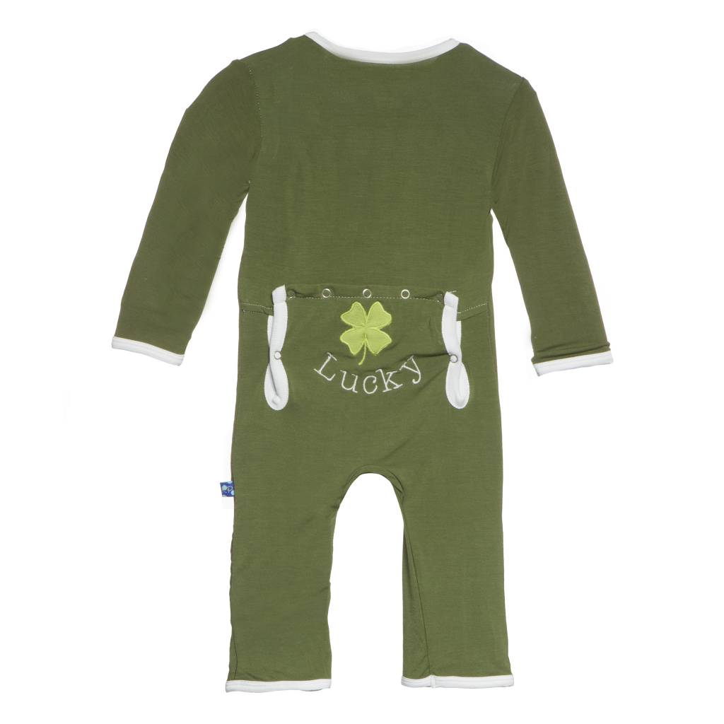 Kickee Pants Coverall - Applique - MOSS CLOVER COVERALL