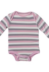 Kickee Pants Onesie - Print Long Sleeve One Piece (Feather Stripe 12-18Mo)