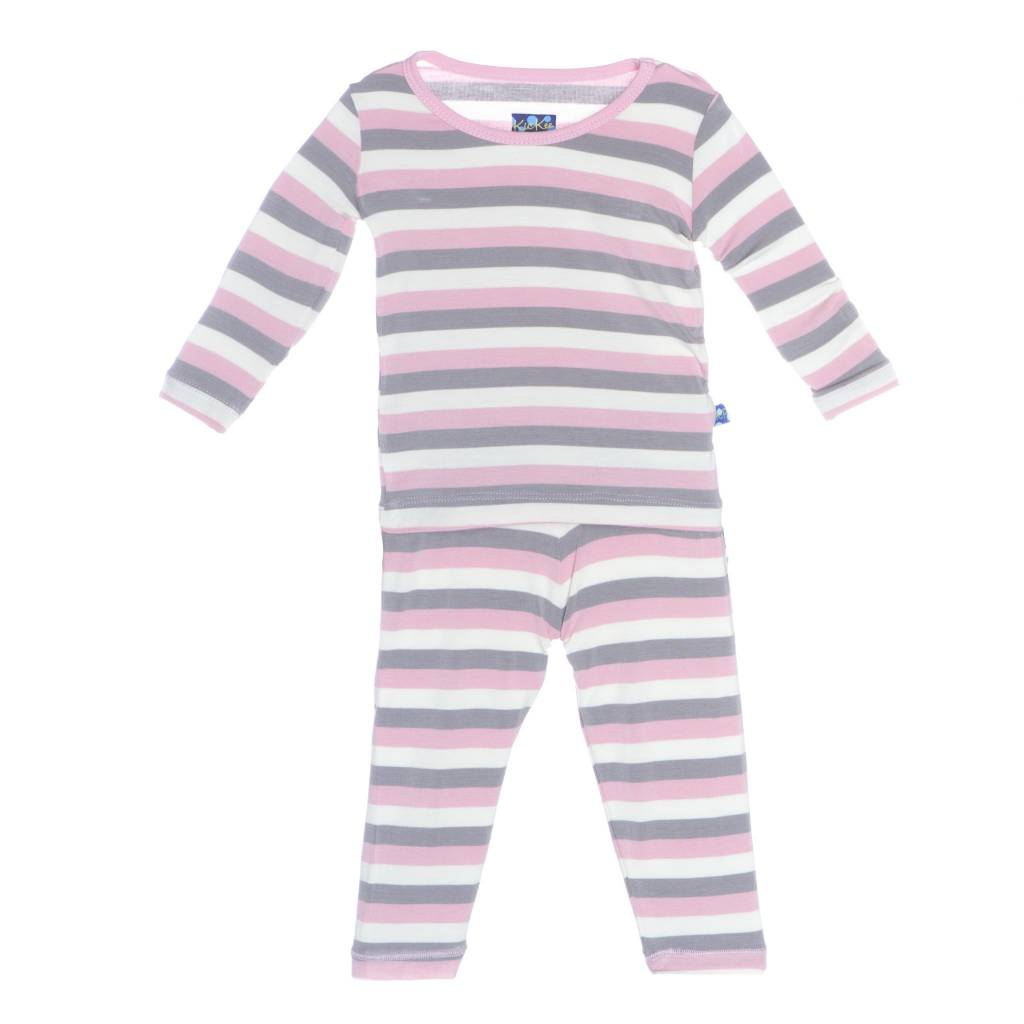 Kickee Pants Pajama Set - Child - Print Long Sleeve Pajama Set (Feather Stripe - 3T)