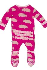 Kickee Pants Footie - Print - PRINT RUFFLE FOOTIE CALYPSO HIPPO