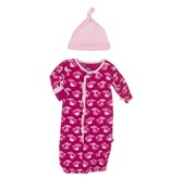 Kickee Pants Layette - Print Ruffle Layette Gown Converter and Knot Hat Set