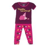 Kickee Pants Pajama Set - Child - PRINT SHORT SLEEVE PAJAMA SET CALYPSO HEDGEHOG