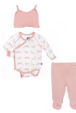 Kickee Pants Gift Set - Ruffle Kimono Newborn Gift Set with Elephant Gift Box