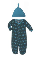 Kickee Pants Layette - LAYETTE GOWN CNVRTR & KNOT HAT SET PINE MOOSE