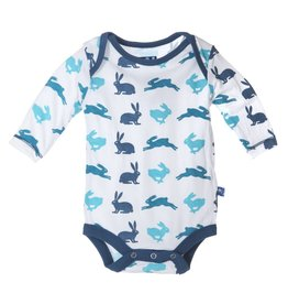 Kickee Pants Onesie - PRINT BOY NATURAL HARE LS ONE PIECE
