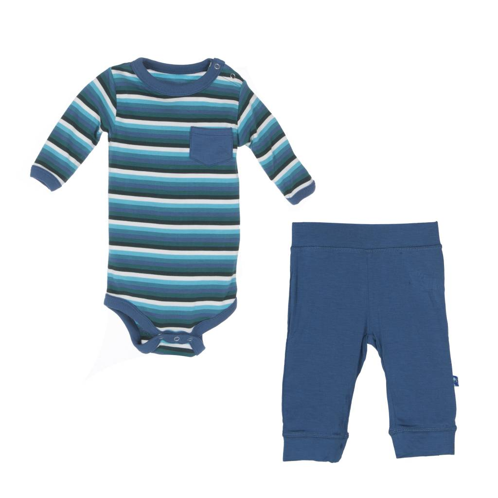 Kickee Pants Outfit Set - PRINT LS ONE PIECE & PANT SET BOY FOREST STRIPE