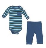 Kickee Pants Outfit Set - PRINT LS ONE PIECE & PANT SET BOY FOREST STRIPE