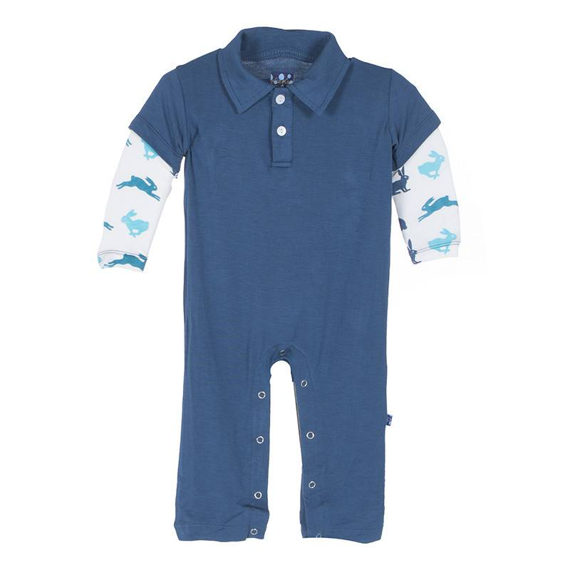 Kickee Pants Romper - TWILIGHT WITH BOY NATURAL HARE LS POLO ROMPER