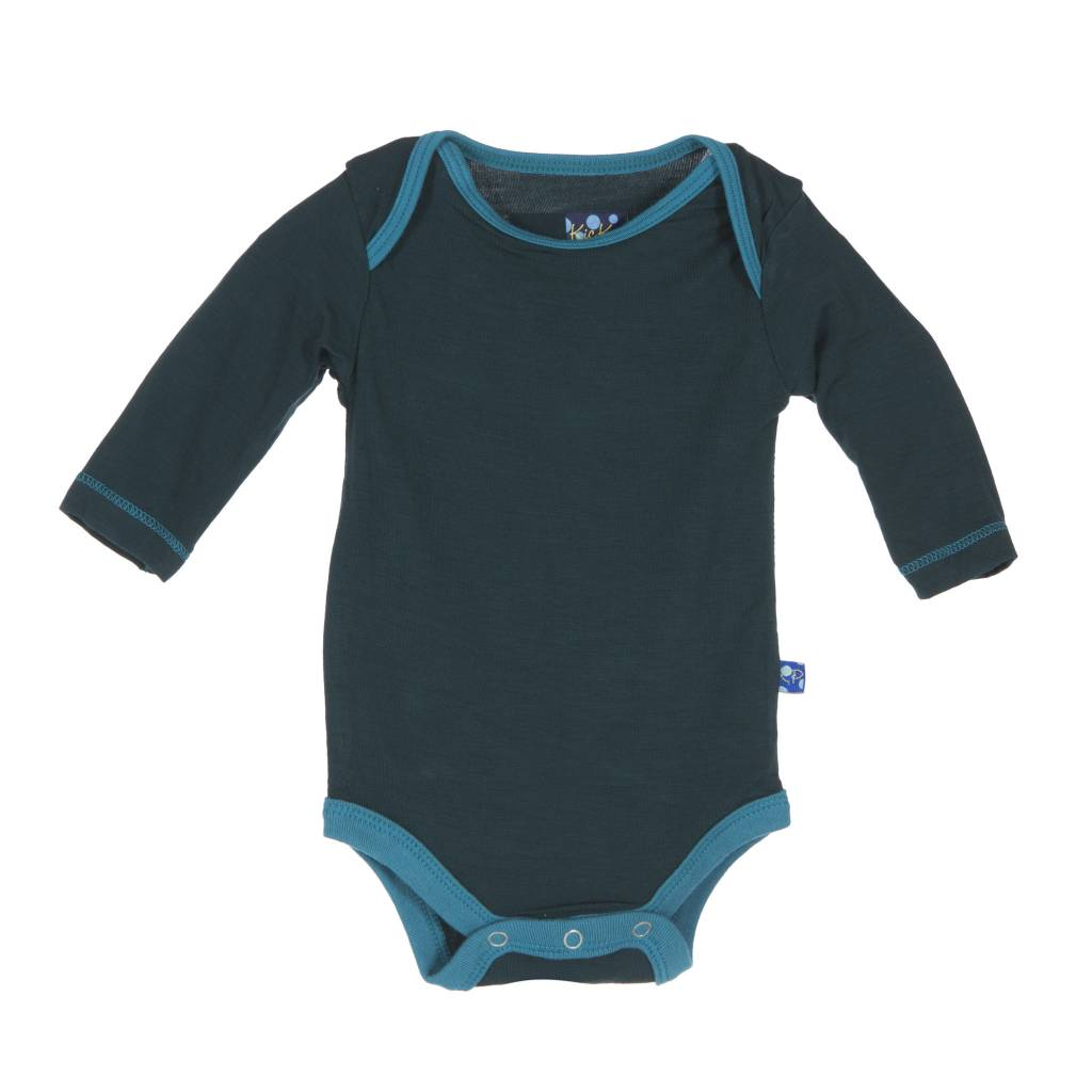 Kickee Pants Onesie - Long Sleeve One Piece with contrasting trim