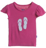 Kickee Pants T-Shirt - Child - Flutter Sleeve Applique Tee (Bubblegum Flip Flop 6Y)