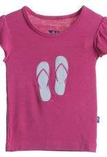 Kickee Pants T-Shirt - Child - Flutter Sleeve Applique Tee (Bubblegum Flip Flop 6Y)
