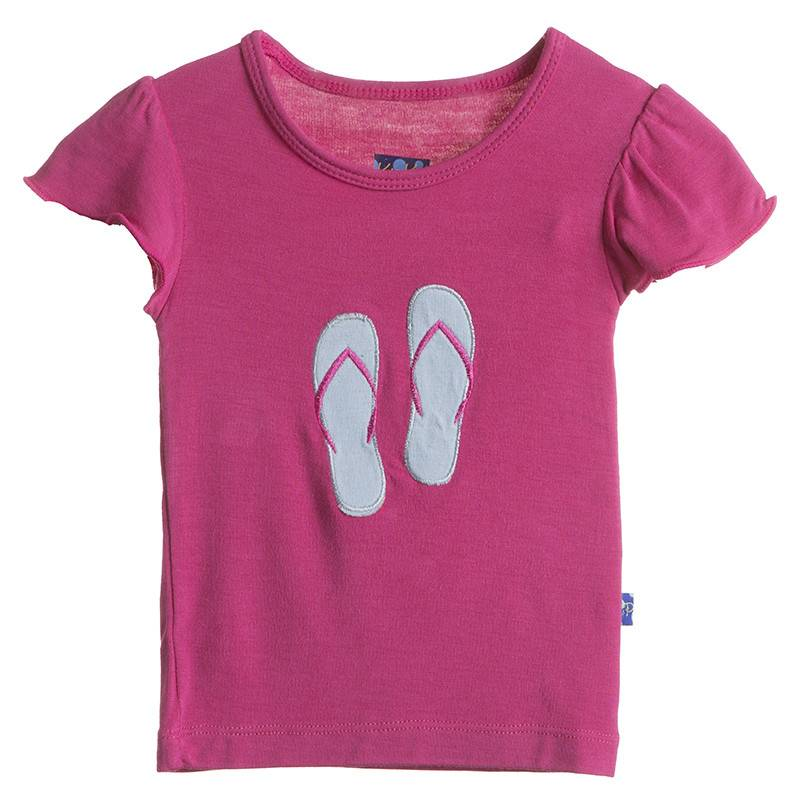 Kickee Pants T-Shirt - Child - Flutter Sleeve Applique Tee (Bubblegum Flip Flop 8Y)