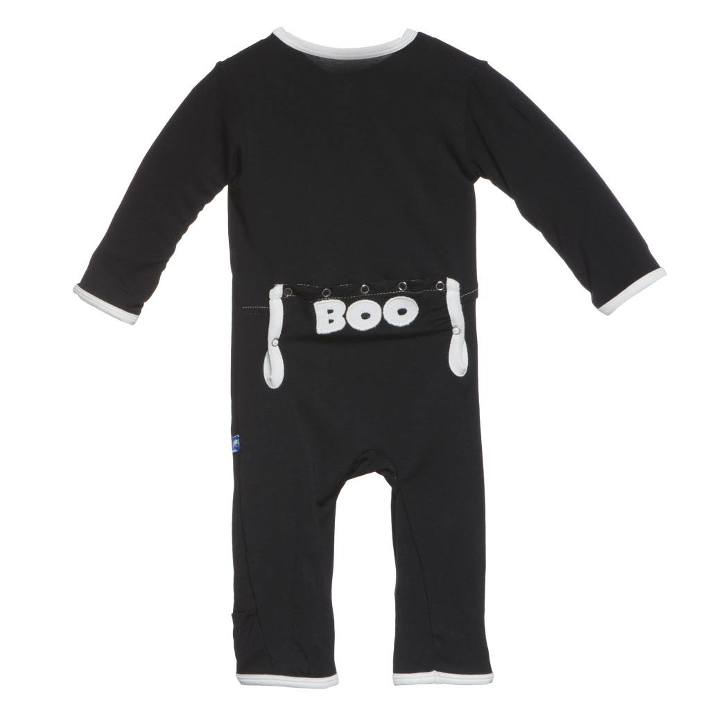 Kickee Pants Coverall - Applique - Holiday Applique Coverall. Midnight BOO