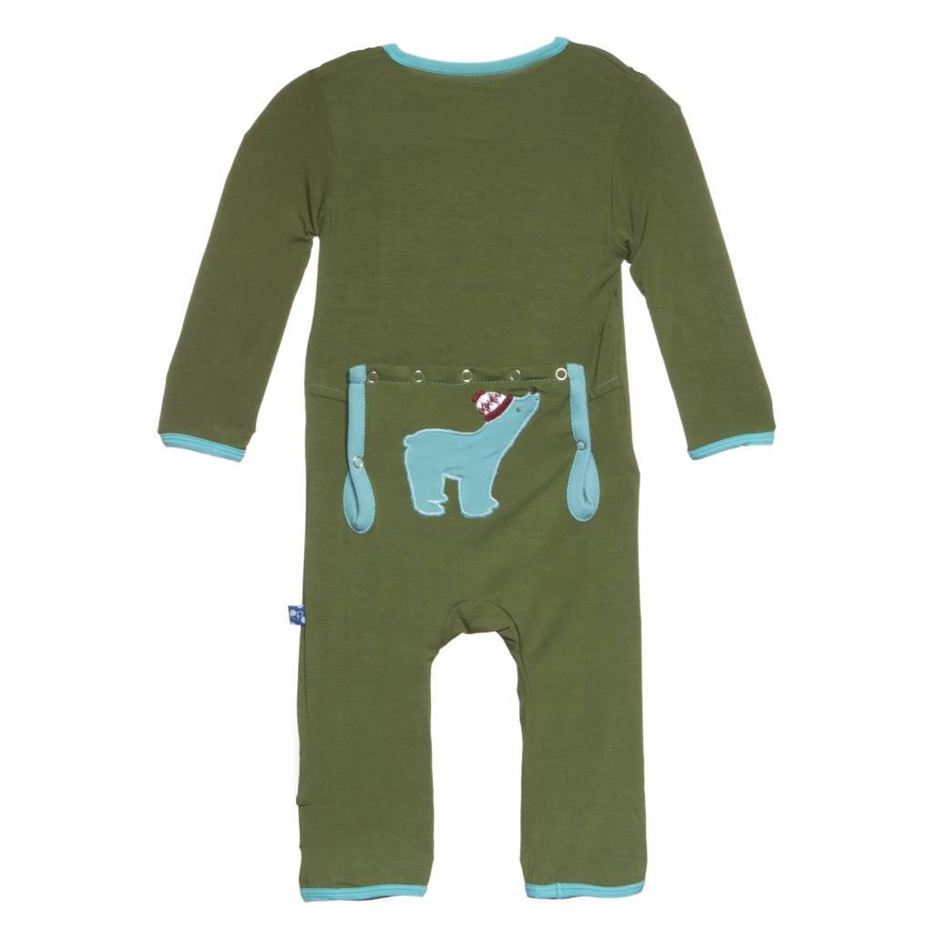 Kickee Pants Coverall - Applique - Holiday Applique Coverall. Moss Polar Bear