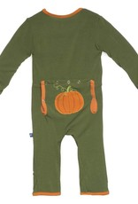Kickee Pants Coverall - Applique - Holiday Applique Coverall. Moss Pumpkin